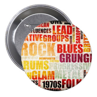 Popular Music Genres and Types on Grunge 3 Inch Round Button