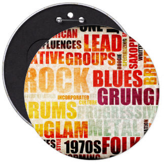 Popular Music Genres and Types on Grunge 6 Inch Round Button