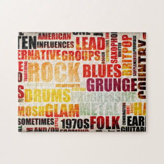 Popular Music Genres and Types on Grunge Jigsaw Puzzle