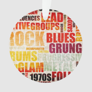 Popular Music Genres and Types on Grunge Ornament