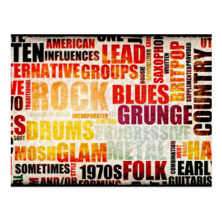 Popular Music Genres and Types on Grunge Postcard