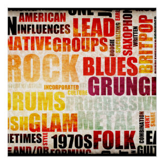 Popular Music Genres and Types on Grunge Poster