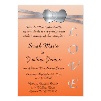 Popular Orange and Silver Wedding Love Hearts Card