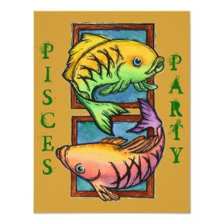 "POPULAR PISCES PARTIES PARTY BIRTHDAY INVITATION 4.25"" X 5.5"" INVITATION CARD"