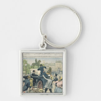 Popular protest against Joseph Reinach Silver-Colored Square Keychain
