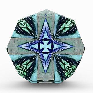Popular Teal Purple Modern Star Cross Pattern Award