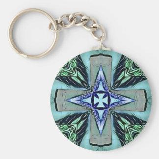Popular Teal Purple Modern Star Cross Pattern Keychain