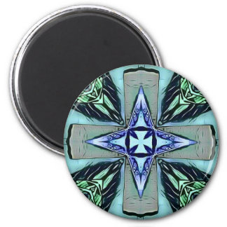 Popular Teal Purple Modern Star Cross Pattern Magnet