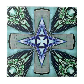 Popular Teal Purple Modern Star Cross Pattern Tile