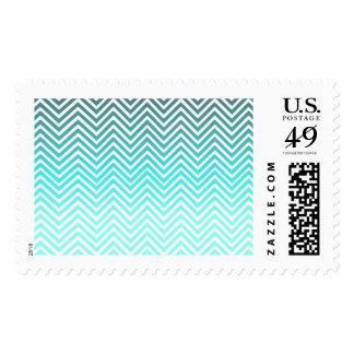 Popular turquoise Zigzag Chevron Retro Vintage Stamp