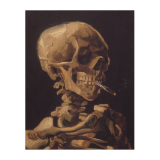 Popular Van Gogh Skull with Burning Cigarette Wood Wall Decor