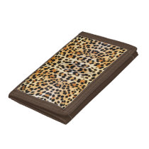 Popular Wild Leopard Print Pattern Trifold Wallet