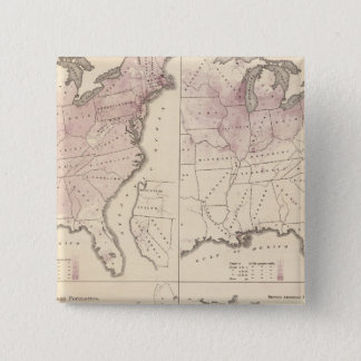 Population and Density - United States Census 1870 Pinback Button