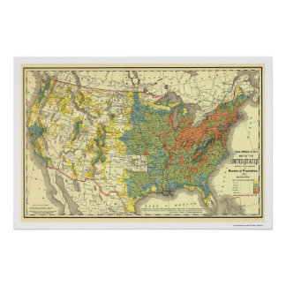 Population Density USA Map 1890 Poster