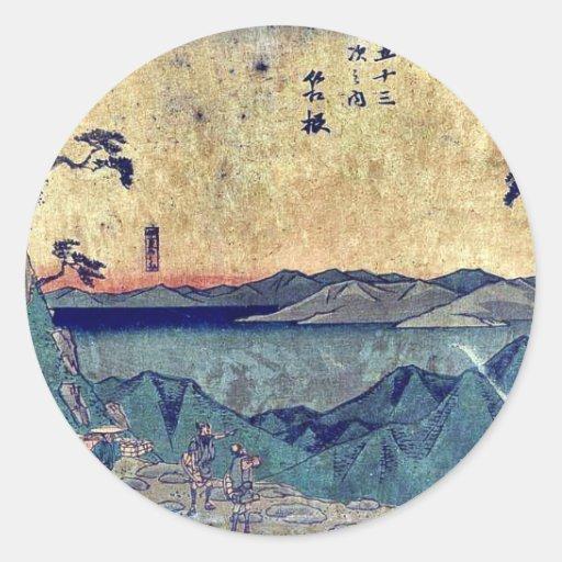 por Ando, Hiroshige Ukiyo-e. Pegatina Redonda