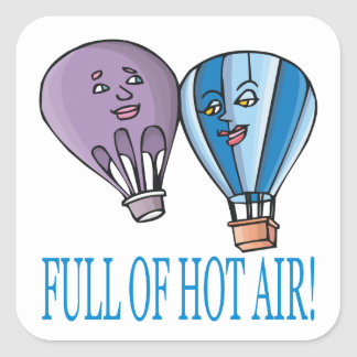 Por completo del aire caliente pegatina cuadrada