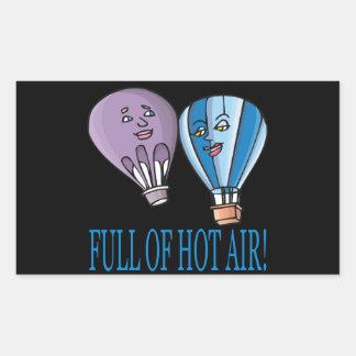 Por completo del aire caliente pegatina rectangular