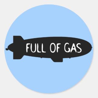 Por completo del gas - dirigible no rígido pegatina redonda