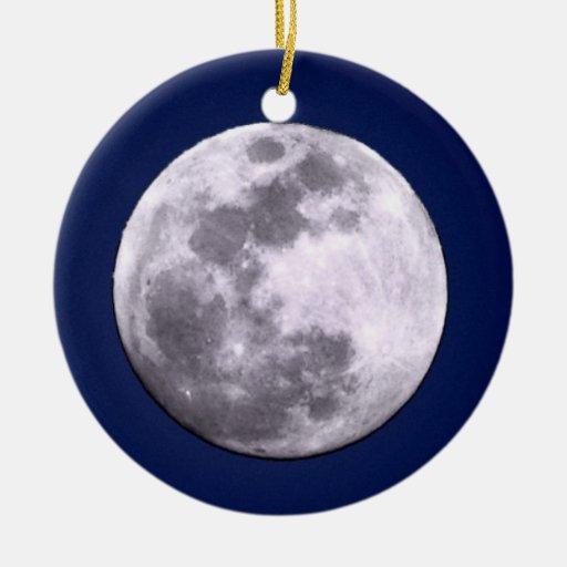 Por completo y ornamento creciente de la luna adorno navideño redondo de cerámica