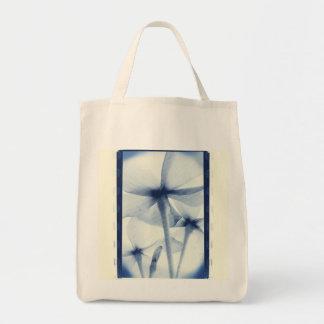 Por debajo las flores - vintage Cyanotype azul env Bolsa Lienzo