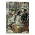 Por el agua, c.1881-2 tarjeta de felicitación