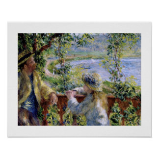"""""""Por el agua"""" cerca por Pierre-Auguste Renoir Póster"""