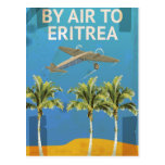 Por el aire al poster del viaje del vintage de tarjetas postales
