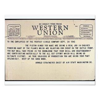 Por el alambre directo de Western Union Invitación 10,8 X 13,9 Cm