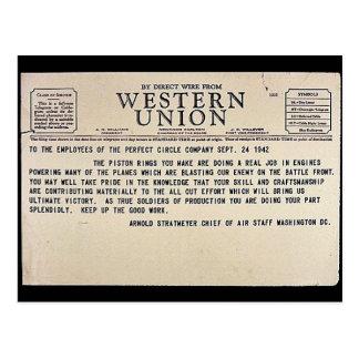 Por el alambre directo de Western Union Postal