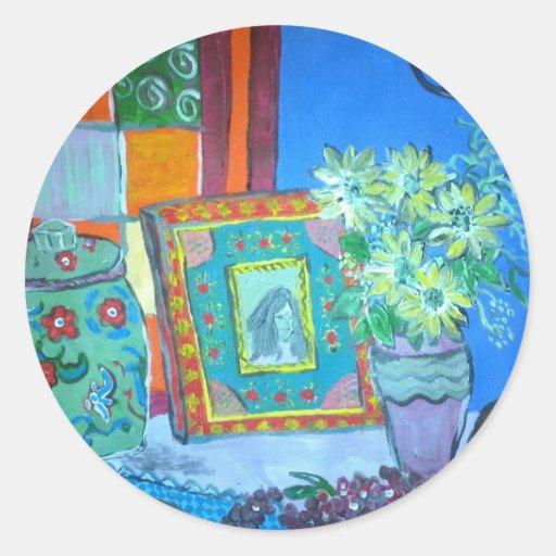 Por el artista Julia Anne Butterworth Etiquetas Redondas