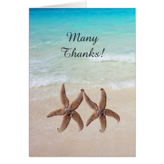 Por el boda del mar las estrellas de mar le tarjeta pequeña