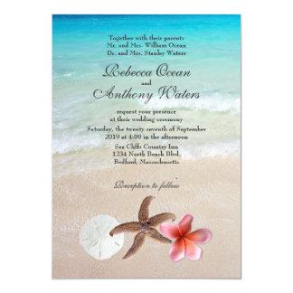 """Por el destino tropical del mar el boda invita invitación 5"""" x 7"""""""
