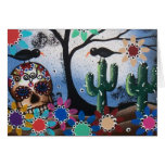 Por el día del muerto, mexicano, cráneo, DOD de Lo Tarjeta