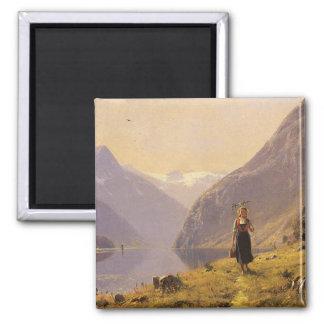 Por el fiordo (noruego) por Hans Dahl Imán Cuadrado