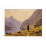 Por el fiordo (noruego) por Hans Dahl Tarjetas Postales