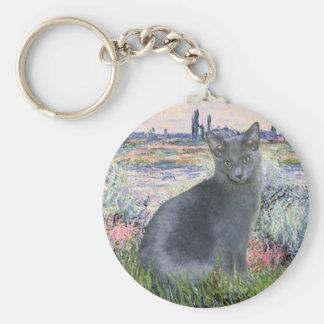 Por el gato azul ruso 2 del Sena Llavero Redondo Tipo Pin
