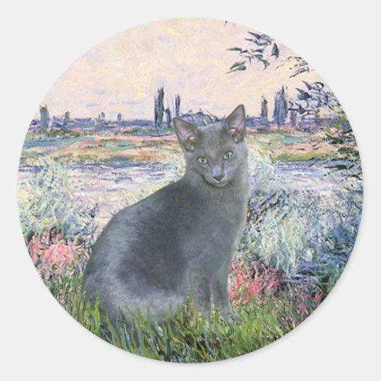 Por el gato azul ruso 2 del Sena Pegatina Redonda