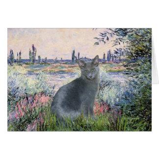 Por el gato azul ruso 2 del Sena Felicitacion