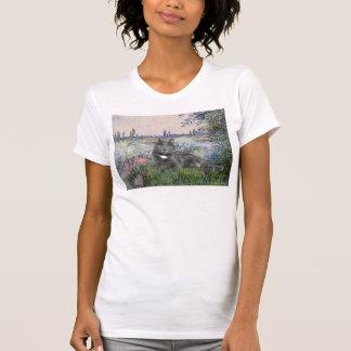Por el gato del gris del Sena Camisetas