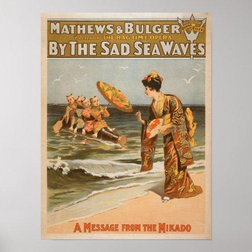"""Por el mar triste agita el """"mensaje de Mikado """" Póster"""