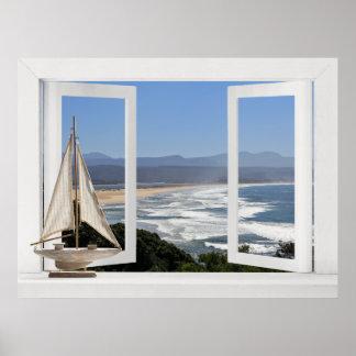Por el océano -- Opinión de ventana abierta con el Impresiones