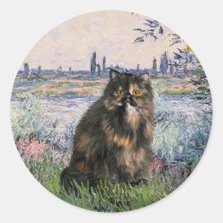 Por el Sena - gato de calicó persa Etiqueta Redonda