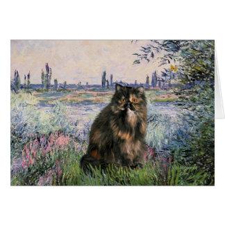 Por el Sena - gato de calicó persa Tarjeta