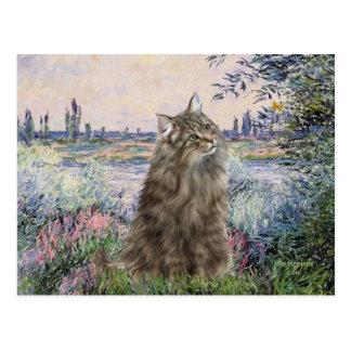 Por el Sena - gato noruego del bosque Tarjetas Postales