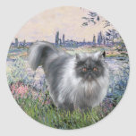 Por el Sena - gato persa del humo azul Etiquetas Redondas