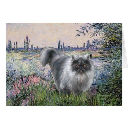 Por el Sena - gato persa del humo azul Tarjetas