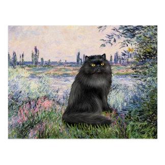Por el Sena - gato persa negro Postal