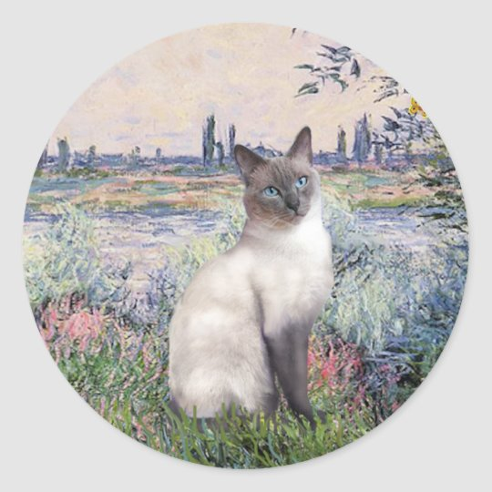Por el Sena - gato siamés del punto azul Pegatina Redonda