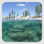 Por encima y por debajo del lago Tahoe Pegatinas Cuadradas