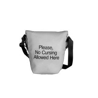 Por favor el ningún maldecir permitido aquí bolsas de mensajería